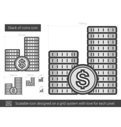 Stack of coins line icon vector image vector image