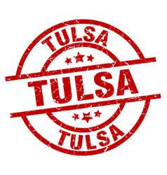 tulsa red round grunge stamp vector image