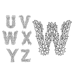 U v w x y and z floral letters vector image vector image