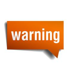 Warning orange speech bubble isolated on white vector