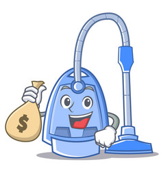 with money bag vacuum cleaner character cartoon vector image