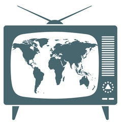 World map in retro tv vector