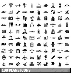 100 plane icons set simple style vector