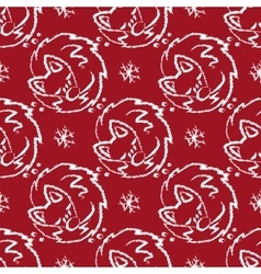 Christmas pattern with foxes sleeping and vector