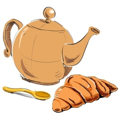 Fresh croissant and kettle vector image