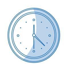 Blue shading silhouette cartoon analog wall clock vector