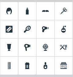 Set of simple beautician icons vector