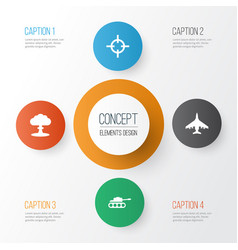 combat icons set collection of target atom vector image