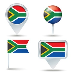 Map pins with flag of south africa vector