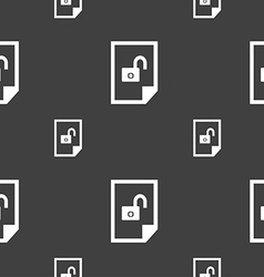File unlocked icon sign seamless pattern on a gray vector