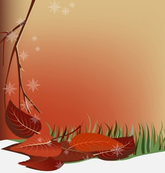 Autumn snow and leaves vector