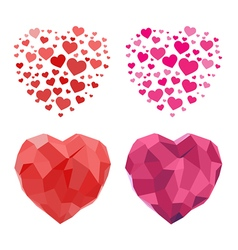 2d and polygonal heart for valentines day vector
