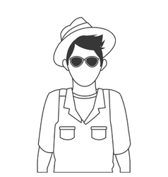 Male tourist with glasses and hat icon vector