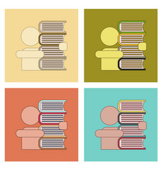 Assembly flat icons schoolboy books vector