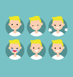 Blonde pale man profile pics set of flat vector