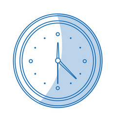 Blue shading silhouette cartoon analog wall clock vector