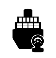 Cargo ship and manometer icon vector