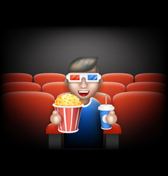 Cinema pall 3d glasses big popcorn soda water male vector