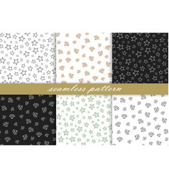 collection of seamless pattern diamonds and stars vector image