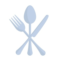 Crossed spoon fork and knife utensil kitchen vector