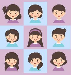 cute kids face avatar cartoon character set vector image vector image