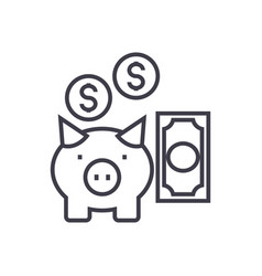 deposit insurancepig with money line icon vector image
