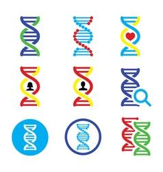 DNA genetics icons set vector image vector image