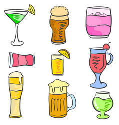 Doodle various drink set collection vector