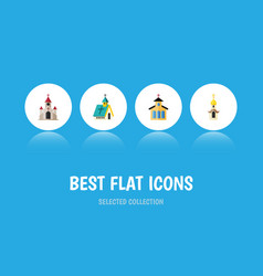 Flat icon building set of traditional catholic vector