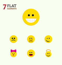 Flat icon face set of hush grin winking and vector