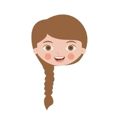Front face cute girl with braided hair vector