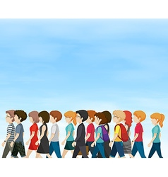 Group of people walking at daytime vector