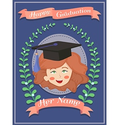 Happy graduation girl blue greeting card vector