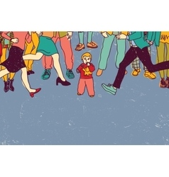 Little baby lost alone in crowd people danger vector image vector image