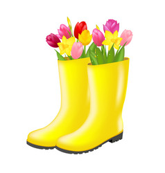 Rain boot with tulip vector