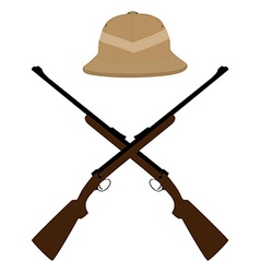 Safari hat and crossed rifles vector