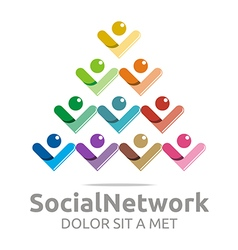 Social network people tower colorful design vector