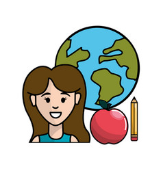 Teacher with global planet apple and pencil vector