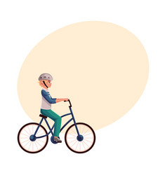 Teen boy teenager riding urban bicycle cycling vector
