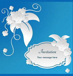 Wedding invitation card templates with paper cut vector