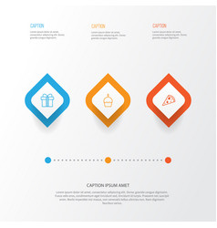 Year icons set collection of gift sliced pizza vector