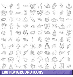 100 playground icons set outline style vector image vector image