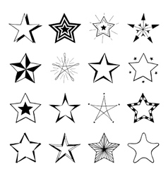 Set of hand drawn stars doodle signs vector