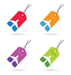 Tag travel with airplane set color vector