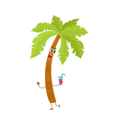 Funny tropical palm tree character holding a vector