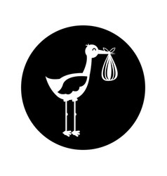 Stork with baby bag icon vector