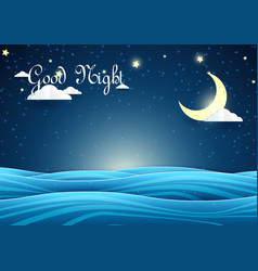 Paper art night sky landscape crescent moon with vector