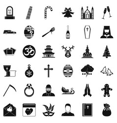 Christianity icons set simple style vector