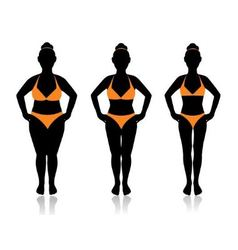 Female silhouette in different weights vector