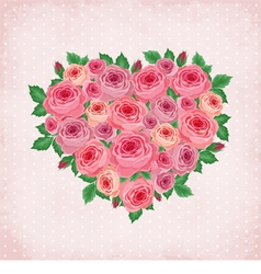 Heart of roses on vintage background vector